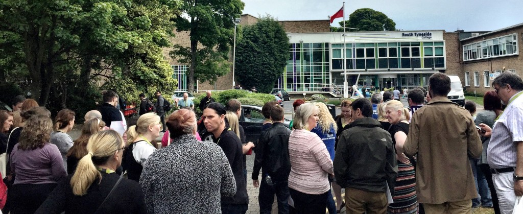 UCU Members outside South Tyneside College on Tuesday 16th June 2015